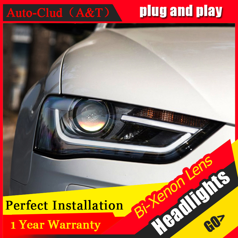 Car Styling For A4 led headlights 2013 16 For A4 head lamp Angel eye led DRL front light Bi Xenon Lens xenon HID KIT