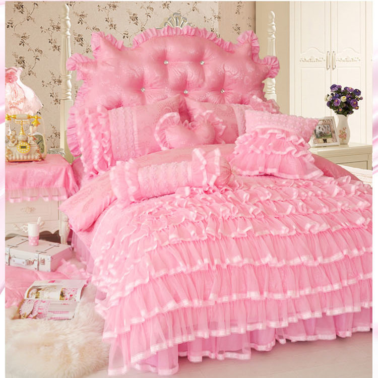 korean princess style cake layers bedding set twin full queen king size beige pink purple ruffle. Black Bedroom Furniture Sets. Home Design Ideas