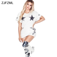 ZJFZML 2018 Gold Star Printed Sexy Shirt Dress Women Round Neck Short Sleeve Party Dress Summer