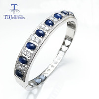 TBJ,5ct natural Blue sapphire gemstone clasp Bangle solid S925 silver for women wife anniversary wedding anniversary Party gift