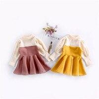 Niños princesa Niñas vestido primavera hechizo color manga de soplo del vestido del bebé dulce vestido de niña ropa para niños