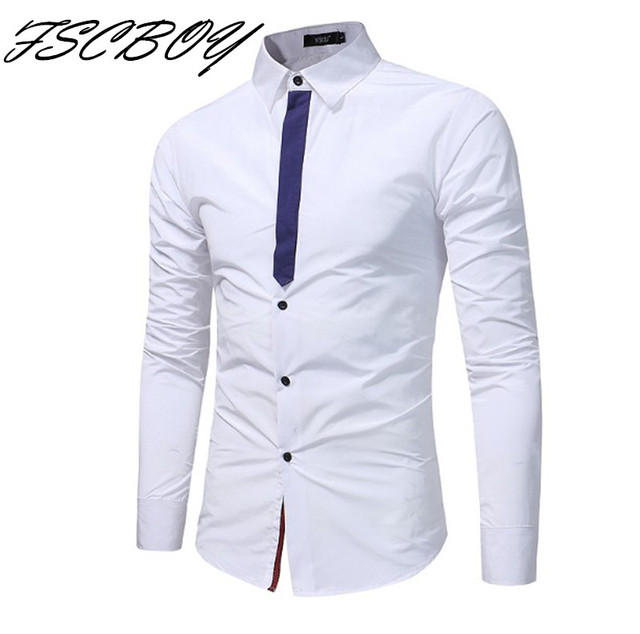 f458709c9538 2018 New Arrival High Quality Men Shirt Long Sleeved Male Fake tie Business Dress  Shirts Brand Clothing Work Shirt