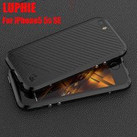 For Iphone 5 5S Se Case Original Luphie Luxury Metal Bumper PU Leather Cover For Apple