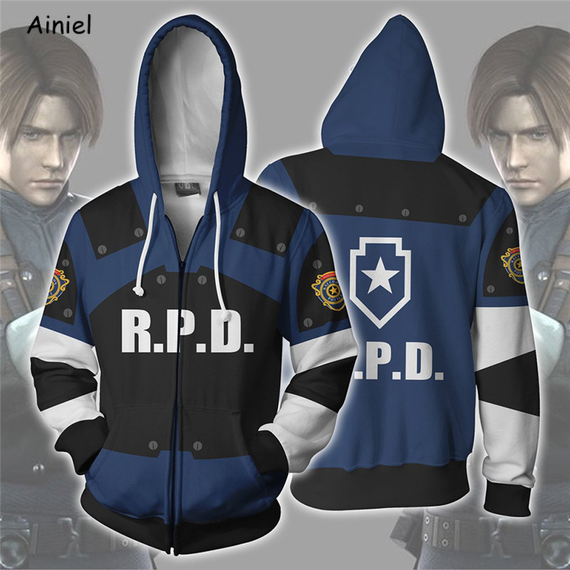 Movie Resident Evil Leon Scott Kennedy Cosplay Costume Coat Jacket Sweater Casual Hoodie Zipper Autumn Halloween Party Men Women