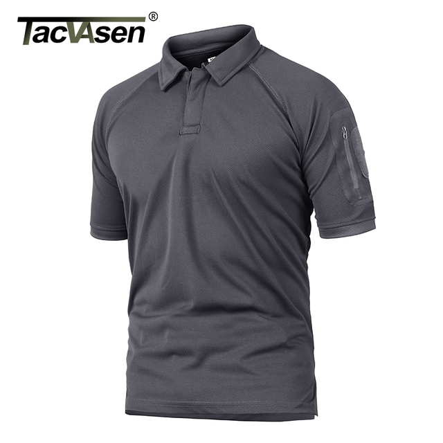 TACVASEN Summer T-shirts Golf Polos Men's Tactical Clothing Quick Dry Mesh Fabric Army Performance Airsoft Tee Shirts Tops Male 2