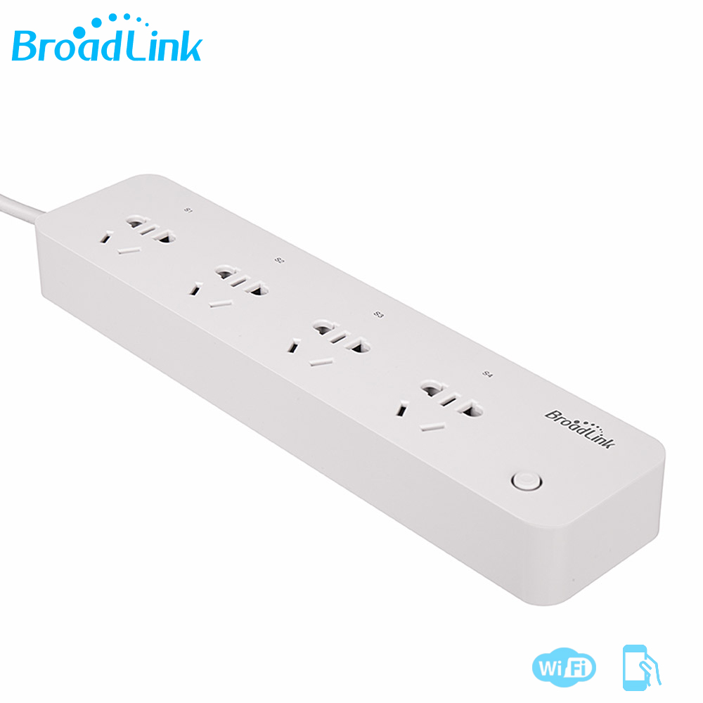 Original Broadlink MP1 WiFi Timing 10A Power Strip MP1 Remote Control Available 4-Outlet Power Socket For Smart Home Automation wireless remote control power socket smart rf socket control power for home appliance compatible with g90b wifi gsm sms alarm