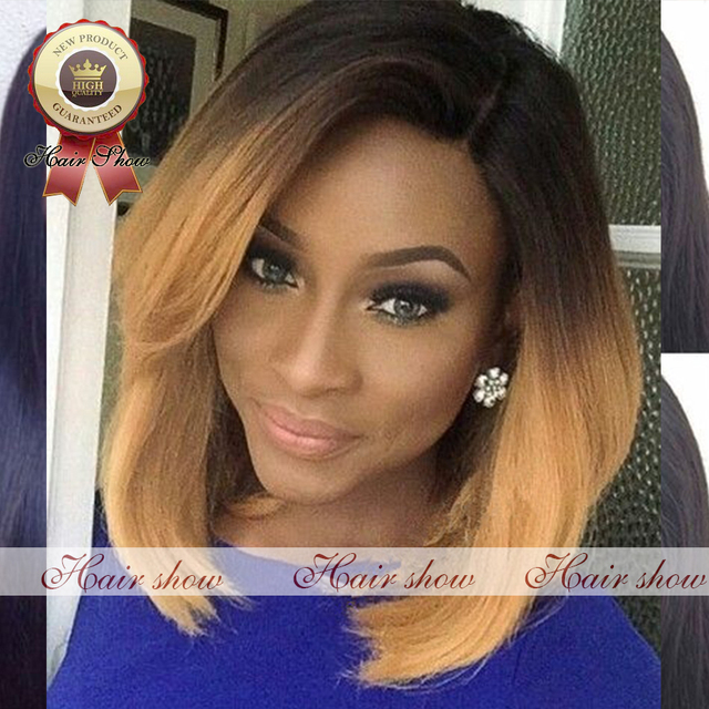 Natural Black And Honey Blonde Ombre Short Bob Full Lace Front Wigs