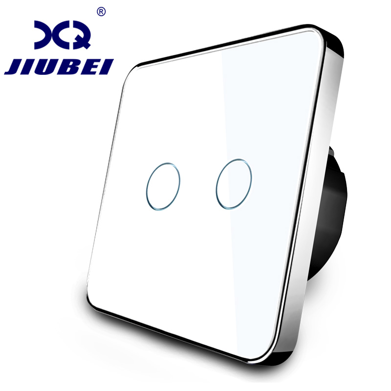 Jiubei White Crystal Glass Switch Panel,touch switch, EU Standard, 2 Gang 1 Way Switch, switch touch, C702-11/12/13 smart home eu touch switch wireless remote control wall touch switch 3 gang 1 way white crystal glass panel waterproof power