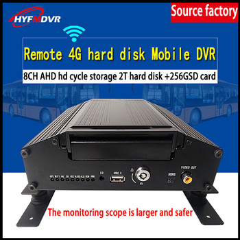 Factory sales agent 4G GPS AHD HD 8-channel coaxial SD card + hard disk storage record mobile DVR heavy machinery  large ship