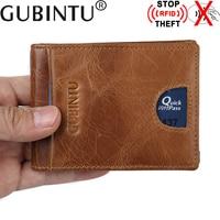 Thin Billfold Vintage Wallet Men Money Clips Genuine Leather Clamp for Men's Money Holder Credit Card Case Cash Clip Card Pocket