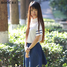 BOOCRE Japanese/Korean England Navy Cosplay School Uniforms Cute Girl Sailor Suit JK Student Shirt+Skirt+Tie Clothing japanese school uniforms anime cos sailor suit tops bow tie skirt jk navy style students clothes for girl short sleeve