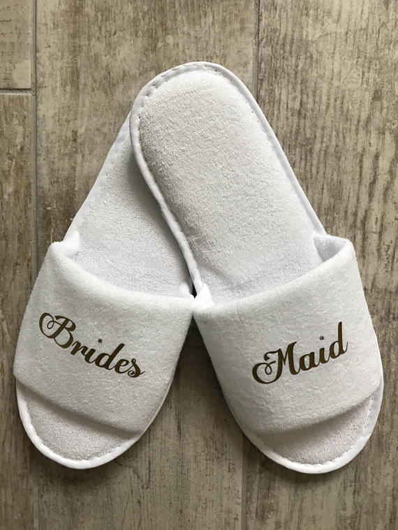 6783c3b7c6a00 customize gold titles wedding bridesmaid bride groom spa soft slippers hen  night Bachelorette party favors gifts-in Party Favors from Home   Garden on  ...