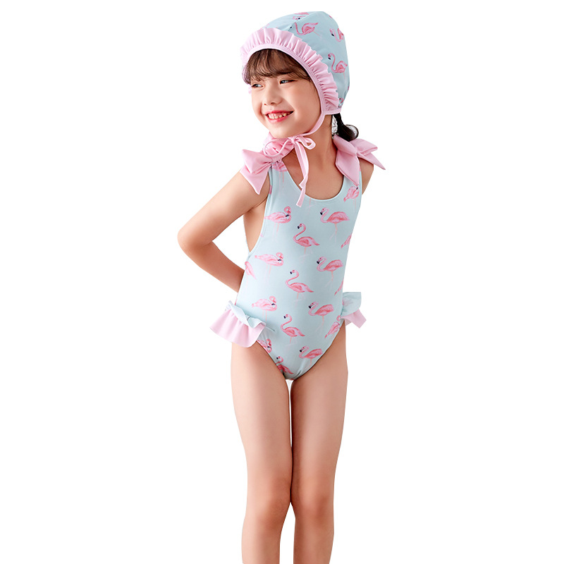 c5f359f1f6e8f Girls One Piece Swimsuits Light Blue Pink Flamingos Printed 0-14 Y Kids  Swimwear Children