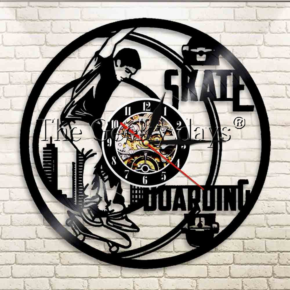 1Piece Skateboard Boy Vinyl Record Wall Clock Skate Boarding Modern Design Wall Watch Young People Sport For Skate Lover Gift