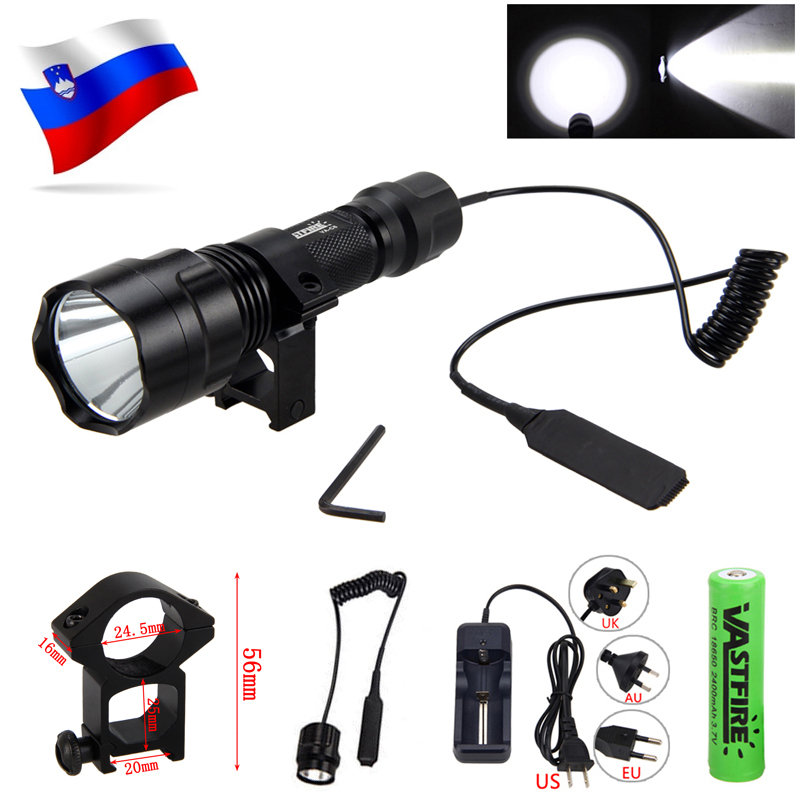 White T6 LED Tactical Hunting Flashlight 2500LM Weapon Gun Light+Rifle Scope Mount+Pressure Switch+18650 Battery+Charger