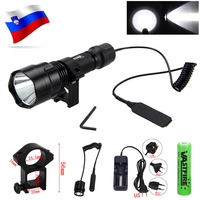 Wit T6 Led Tactische Jacht Zaklamp 2500LM Wapen Gun Licht + Rifle Scope Mount + Drukschakelaar + 18650 Batterij + Lader