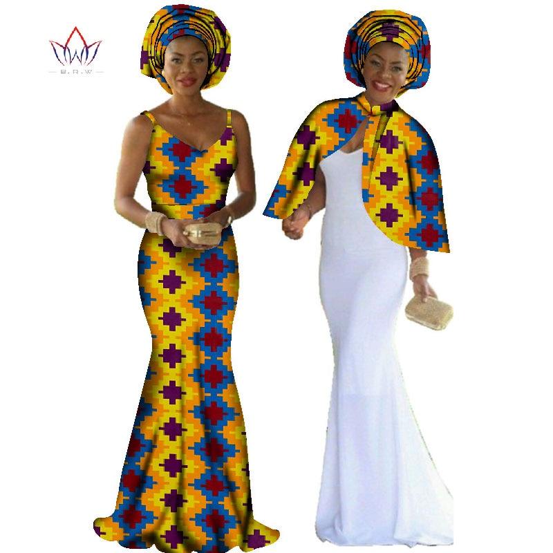 Veshje fustanesh afrikane Dashiki Gratë 2 copë Vendosni origjinale Kepi & Braces Fustan Maxi Dress Plus Madhësia e Veshjeve të Grave të gjata BRW WY140