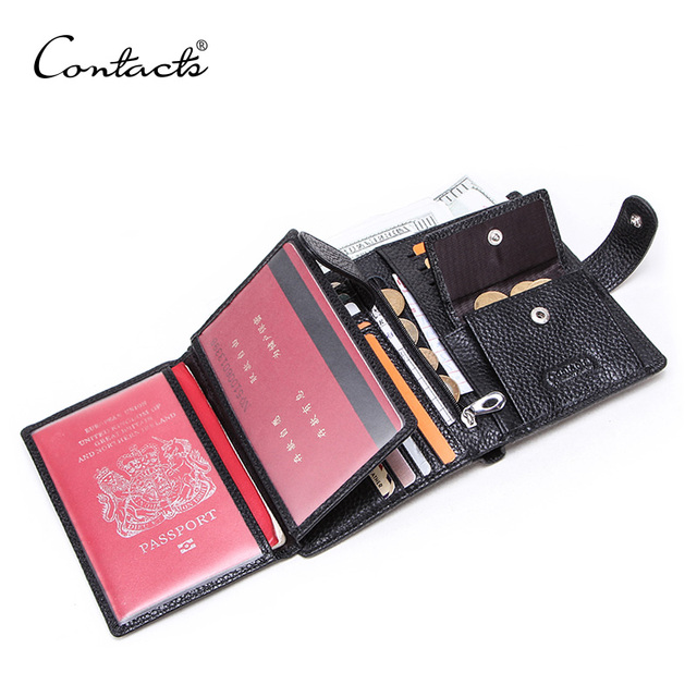 CONTACTS Genuine Leather men passport wallet with metal hasp zipper big Coin pocket Business male trifold purse card holder