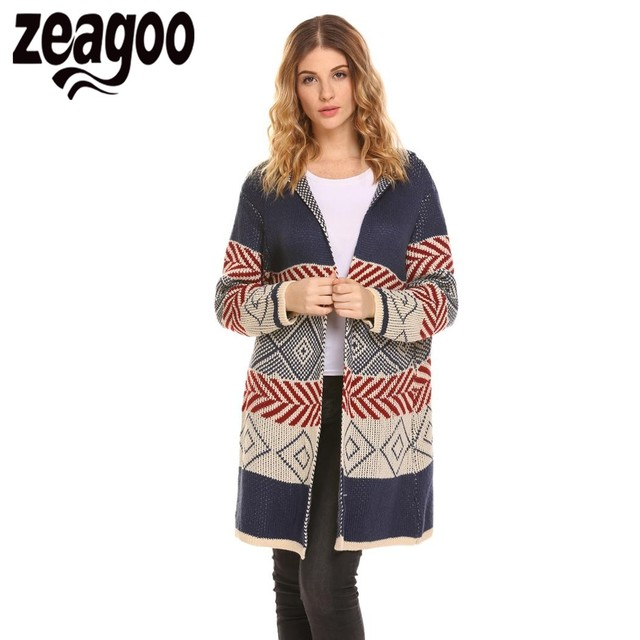 Zeagoo Autumn Cardigan Women Sweater Long Sleeve Hooded Open Front Knitted  Cardigan Geometric Print jersey mujer invierno b0acbcd97
