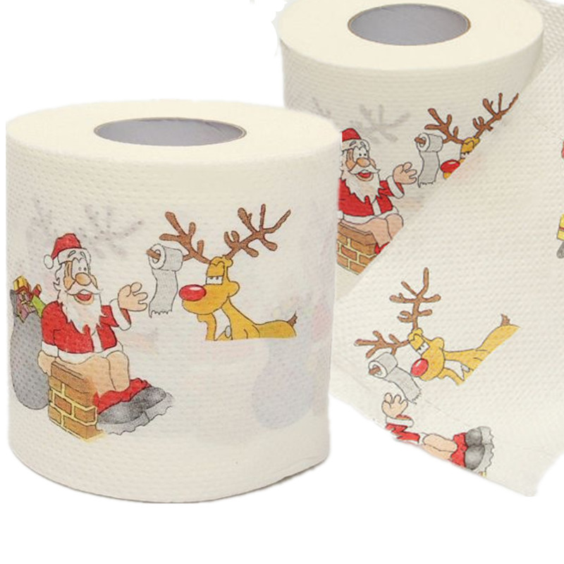 Cute Santa Claus Deer Christmas Toilet Roll Paper Tissue