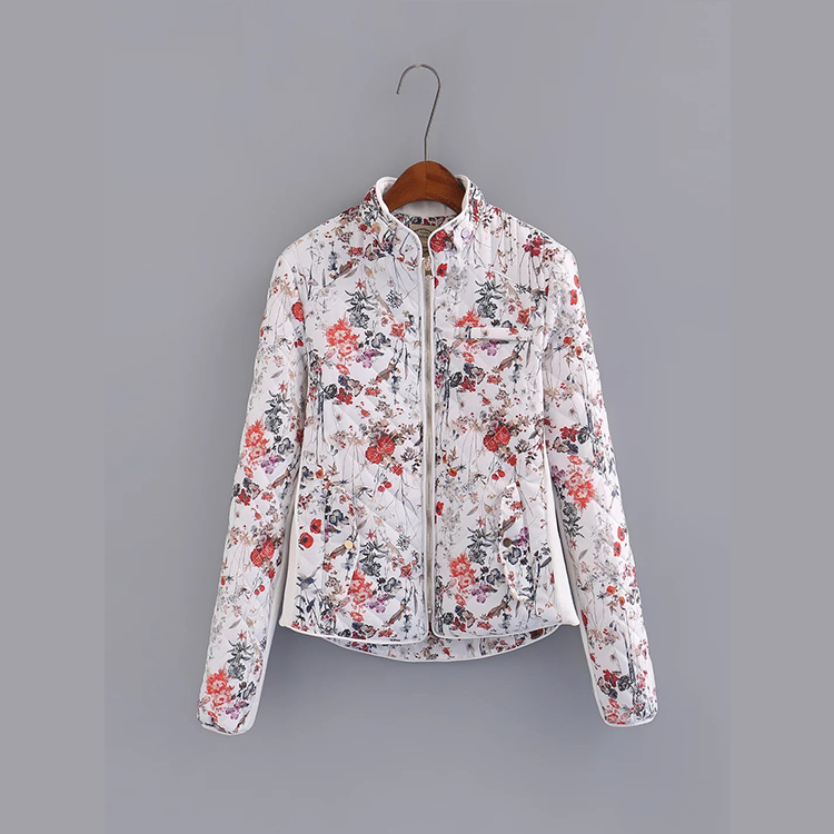 Autumn Winter New Women Fashion Floral Print High Quality Quilted Jacket, Female Vintage Elegant Slim Cotton Baseball Jackets