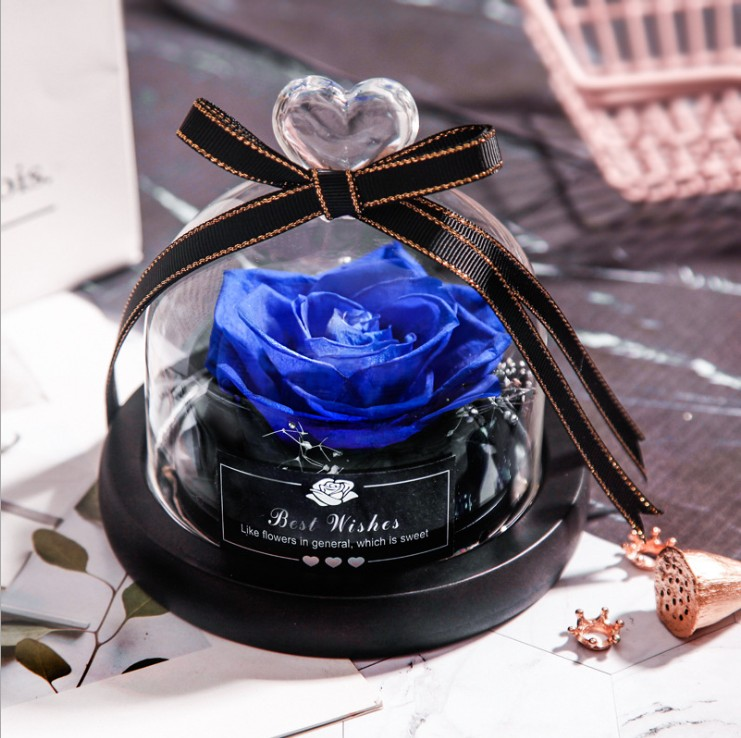 Blue Forever Rose Flower Preserved Immortal Fresh Rose In Glass Vase Cloche Wedding Decorations Unique Gifts