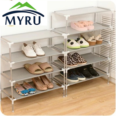 Wholesale stainless steel multi-function receive racks dormitory shoe Korea multilayer woven simple shoe rack