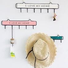 Wrought Iron Wall Mounted Clothes Hanging Hook Hat Key Holder Laundry Coat Rack Organizer Storage Shelf Home Decor