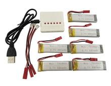 BLL RC Modèle Avion Batterie UDI U817 U818A V959 V222 V929 V929 S032 4 Axes Avion Hélicoptère 6 PCS 3.7 V 680 mah et Chargeur