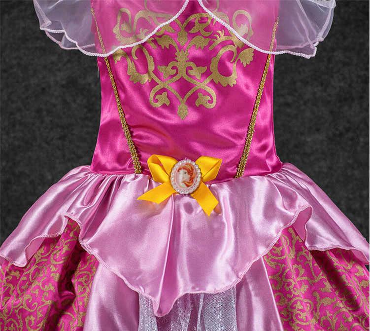 Moda Bebê Meninas Vestido Vestidos Dos Desenhos Animados Crianças Branca de Neve Princesa Vestidos de Renda Crianças Roupas Traje Para A Festa de Cosplay