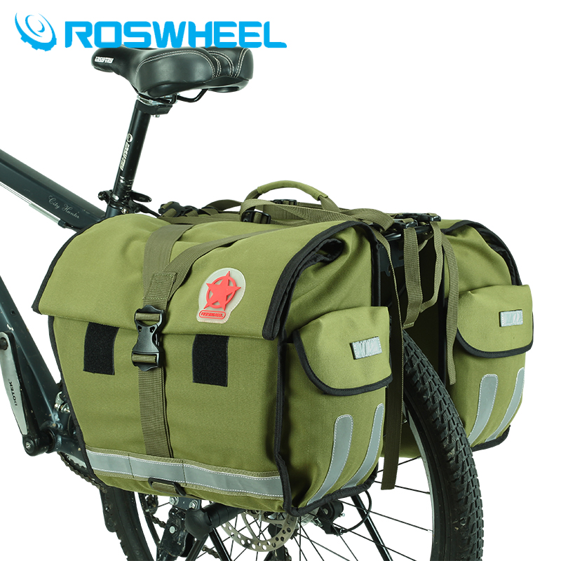ROSWHEEL Retro Canvas Bicycle Carrier Bag 50L Rear Rack Trunk Bike Luggage Back Seat Pannier Cycling Storage Two Bags Send cover coolchange multi function bicycle rear seat trunk bag bike luggage package rear carrier pannier eva shell with rain cover