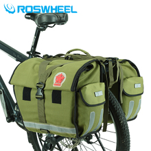 ROSWHEEL Retro Canvas Bicycle Carrier Bag 50L Rear Rack Trunk Bike Luggage Back Seat Pannier Cycling Storage Two Bags Send cover