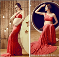Maternity pregnancy photo shoot Maternity photo Shoot Long red Lace dress Pregnant Photography Props Fancy Pregnancy