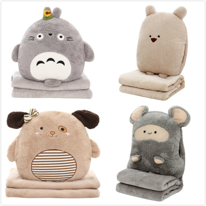 Cushion Blanket cushion dual purpose pillow multi-function blanket cartoon plush child adult sofa bed home car Dec FG659