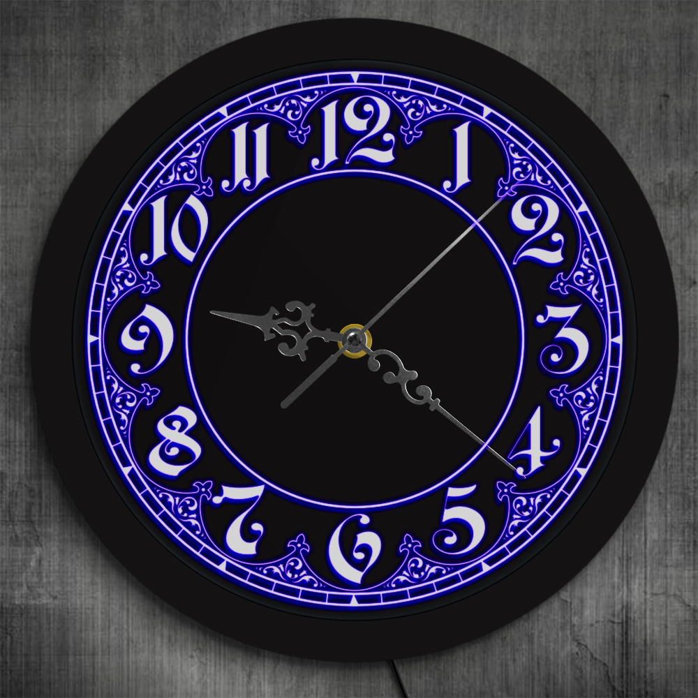Modern Style LED Wall Clock With Big Numbers Home Decor Arabic Numerals Vintage Design Illuminated Wall Clock Led Wall Sign