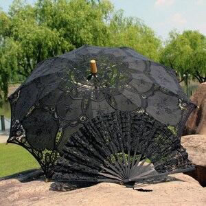 Image 3 - Ao ar livre Proteção do Sol Embrodiery Lace Parasol e Fan Partido Set Presentes do Convidado do Casamento