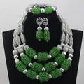 Fantástico Verde Nigeriano Casamento Colar De Cristal Declaração Bib Conjunto WD593 Prata Nupcial Indiano Conjunto de Jóias Mulheres Frete Grátis