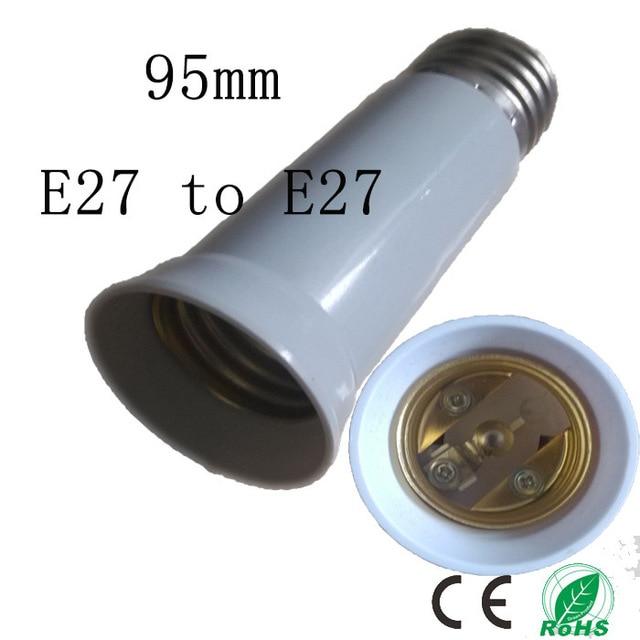 5pcs/lot 95mm E27 to E27 socket,Elongation type lamp holder,Colour and lustre is white