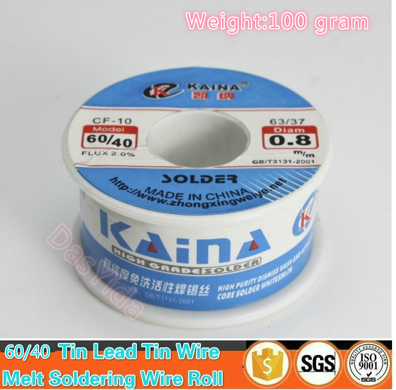 Tin Lead <font><b>Solder</b></font> Wire 100g 0.5/0.6/0.8/1.0/1.5/2.0mm CF-10 <font><b>60</b></font>/<font><b>40</b></font> Rosin Core Tin Lead Soldering Welding Wire 2.0% Flux Reel Tube image