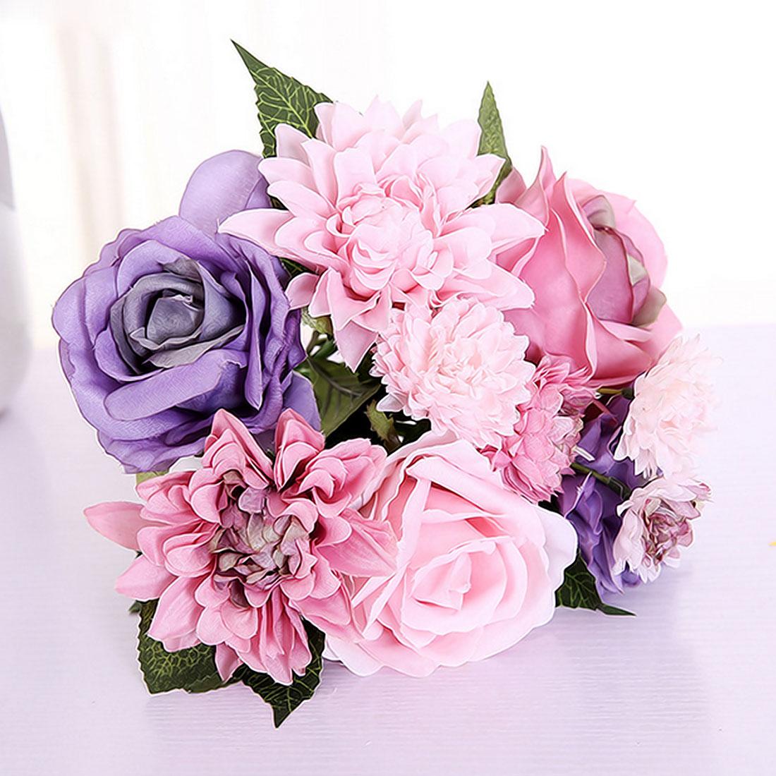 Wedding bouquet Silk flower roses dahlias artificial flowers fall ...