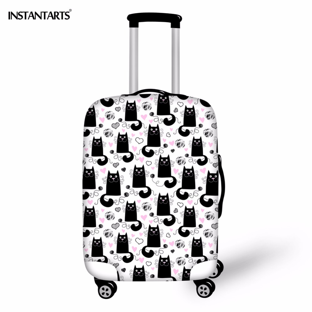 INSTANTARTS Women Travel Accessories Luggage Protective Cover Cute Animal Cat Suitcase Dust Rain Covers For 18-30 Inch Cases