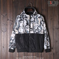 American hip-hop original punk brand men and women many characters hit the color mosaic Hooded Jacket Coat sunscreen