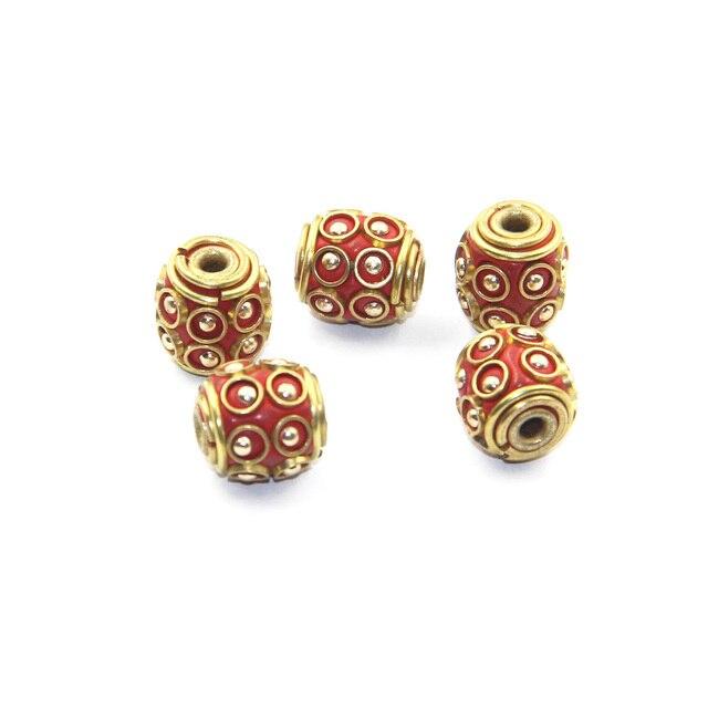 2390c3f00 Cute Brass Handmade Barrel Nepalese Filigree Beads,Tibetan Nepal Prayer  Rosary Beads Spacer Coral Diy Beads Jewelry Finding