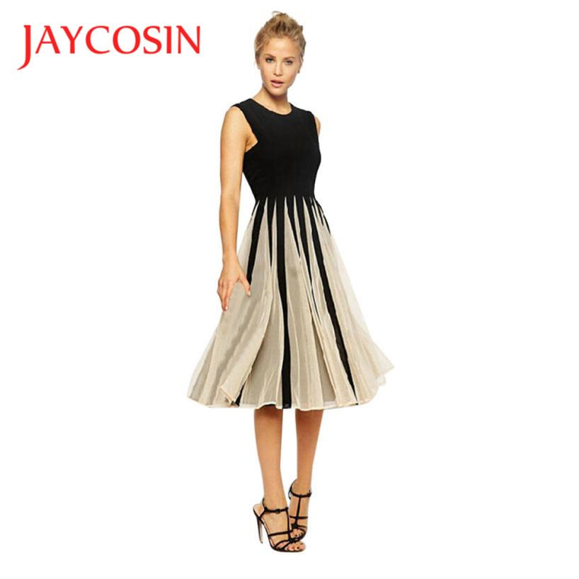 JAYCOSIN Dress Newly Design Women Fashion Sleeveless Mesh Patchwork Short Evening Party Dress 71101
