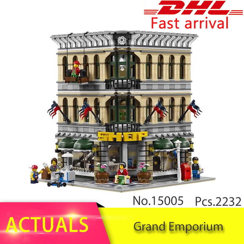 IN Stock Free Shipping Lepin 15005 2232Pcs City Grand Emporium Model Building Kits Blocks Brick DIY Toys Compatible 10211 Gifts in stock new lepin 17004 city street series london bridge model building kits assembling brick toys compatible 10214