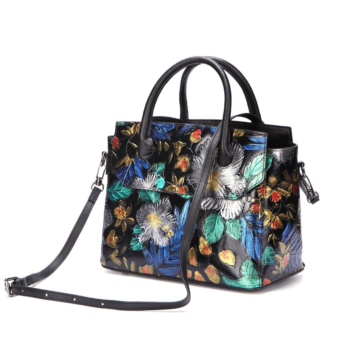 النساء الكتف رسول Crossbody حمل حقيبة يد فرشاة اللون الزهور عالية الجودة حقيقية تنقش جاكيت جلدي حقائب بيد-في حقائب قصيرة من حقائب وأمتعة على  مجموعة 1