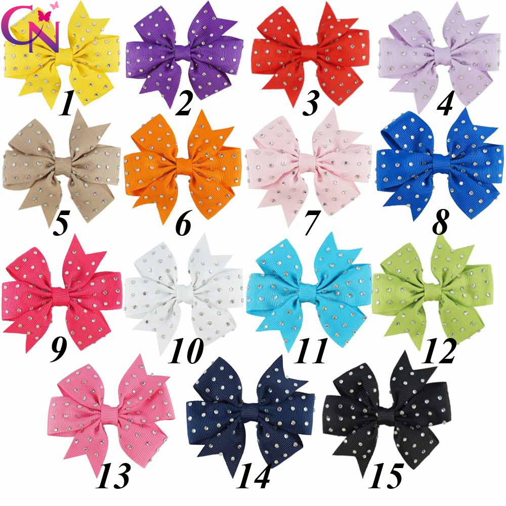 30 Pcs/lot 3 Plain Ribbon Pinwheel Rhinestone Bow With Clip For Girls Kids Handmade Small Crystal Hairpin Hair Accessories 1pcs hair clip black claw clip crystal pearl plastics for women baby party festival rhinestone hairpin 2 sizes hair accessories
