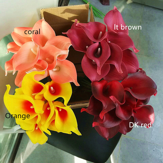 coral orange brown Calla Lilies Real Touch Flowers Silk Bridal ...