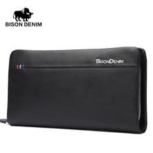 Bison denim 2016 italienischen designer handtasche veranstalter brieftaschen leder echte brieftasche für männer reißverschluss business abendtasche n8008