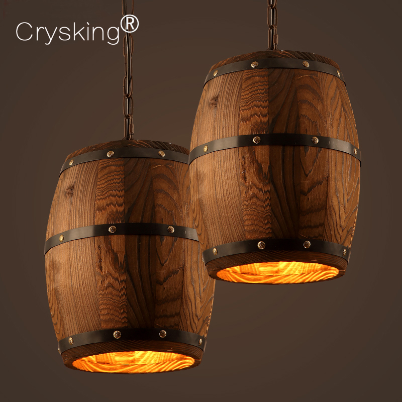 Wood Barrel Pendant Lamp with E27 Edison Bulbs Industrial Wood Lights Lustres Cafe Living Dining Room Pendant Lights Luminaire